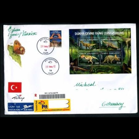 Dinosaur stamps of Turkey 2012 on used cover
