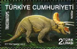Triceratops on stamp of Turkey 2012