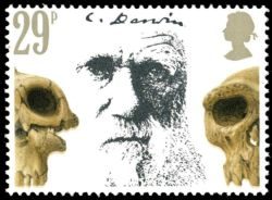 Giant Tortoises and Charles Darwin on stamp of UK 1982