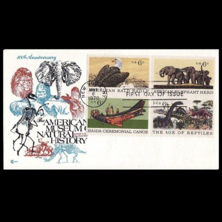 Dinosaur on Centenary of American Natural History Museum FDC of USA 1970