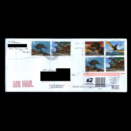 dinosaurs on used cover with stamps of USA 1989