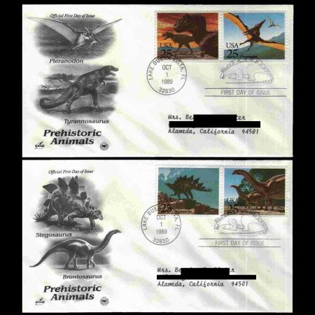 Dinosaurs on FDC of USA 1989