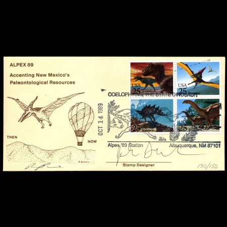 Signed Dinosaurs on FDC of USA 1989