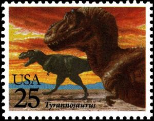 Tyrannosauris on stamp of USA 1989