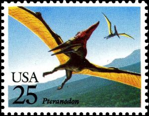 Pteranodon on stamp of USA 1989