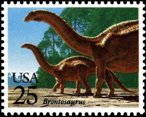 Brontosaurus on stamp of USA 1989