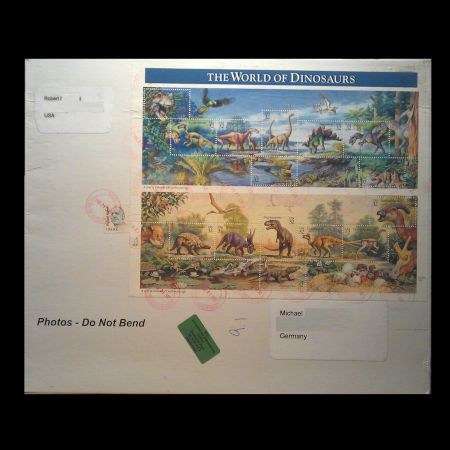 The World of Dinosaurs stamps of USA 1997 on used cover