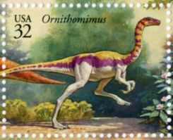 Ornithomimus on stamp of USA 1997
