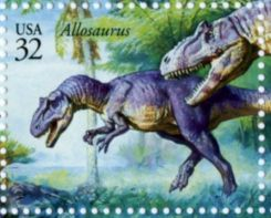 Allosaurus on stamp of USA 1997