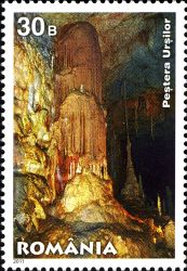 Ursilor Cave on stamp of Romania 2011