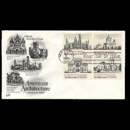 American Architecture on FDC of USA 1980