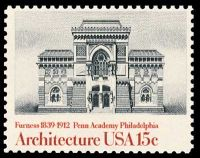 Pennsylvania Academy of Fine Art on stamp of USA 1980