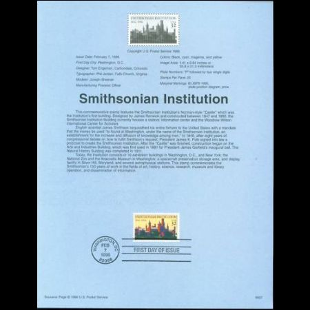 USA 1996 souvenir sheet of 150th anniversary of the founding of the Smithsonian Institution