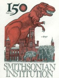 Trex Dinosaur on USA 1996 cover of 150th anniversary of the founding of the Smithsonian Institution
