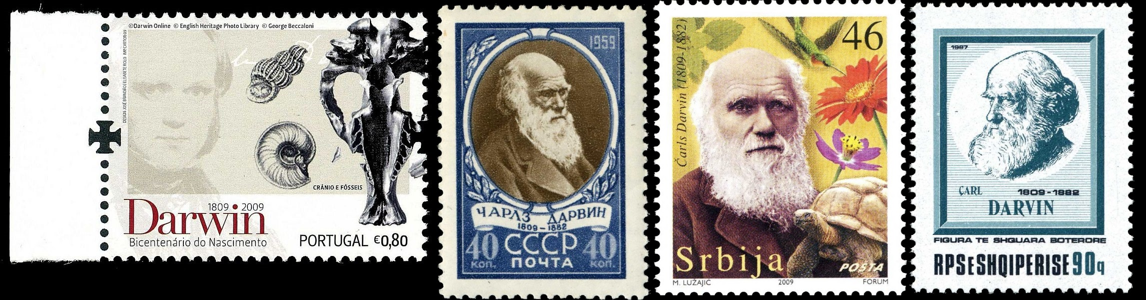 Charles Darwin and other contributors of Paleontology on stamps