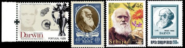 Charles Darwin on stamps