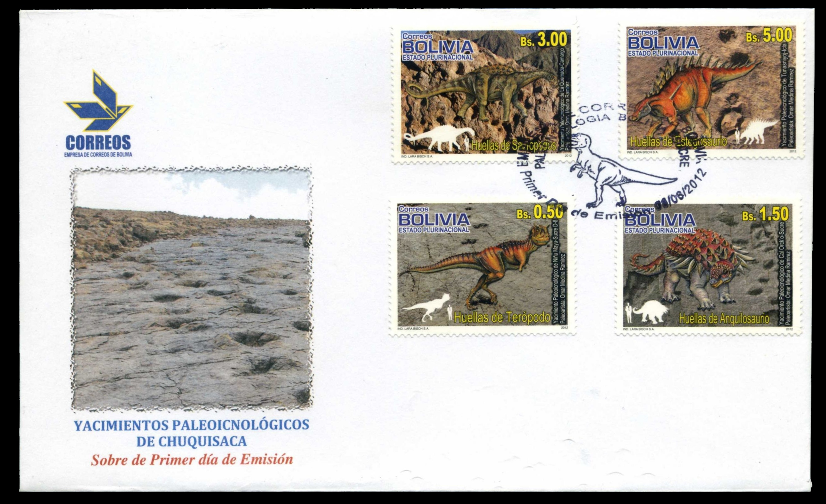 Paleophilatelie: Paläontologie und Philatelie  Bolivia_2012_fdc