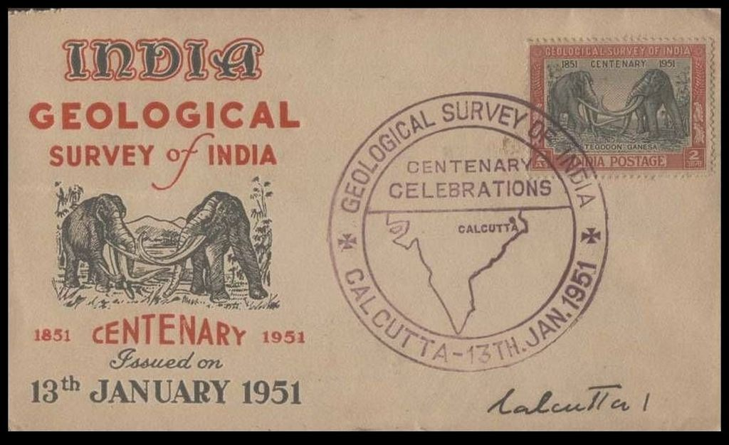 Prehistoric animals, Stegodons, on stamp and FDC of India 1951