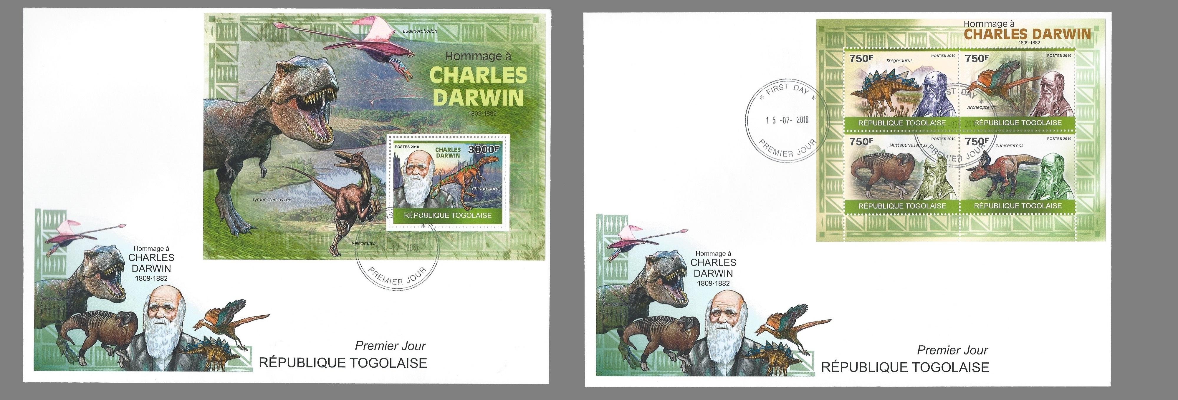 Paleophilatelie: Paläontologie und Philatelie  Togo_2009_darwin_fdc