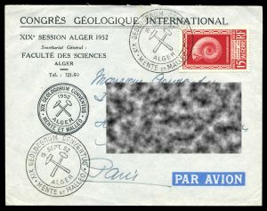XIX International Geological Congress on stamp and cover of Algeria 1952
