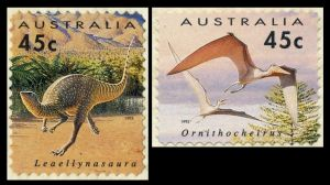 Dinosaur and other prehistoric animals on self adhesive stamps of Australia 1993