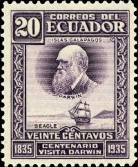 Charles Darwin on stamp of Ecuador 1936
