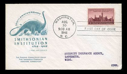 first meter FDC (First Day Cover) with dinosaurs on it