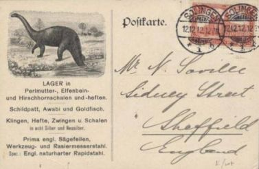 Dinosaur on postcard of Germany 1912