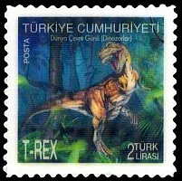 First hologram-motion stamps depicted dinosaur