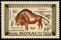 prehistoric cave painting on stamp of Monaco 1949