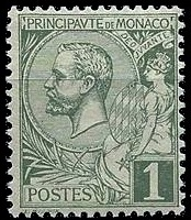 Prince Albert I of Monaco on stamp 1891