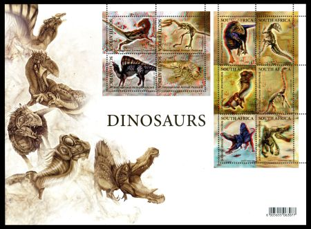 First set with 3D stamp depicted prehistoric animals