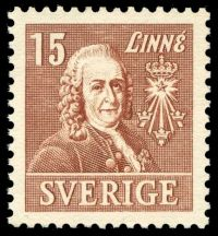 Carl Linnaeus on stamp of Sweden 1939