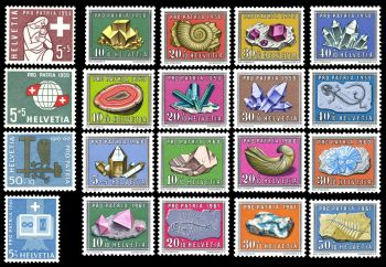 Fossil and Mineral stamps of Switzerland 1958-1961