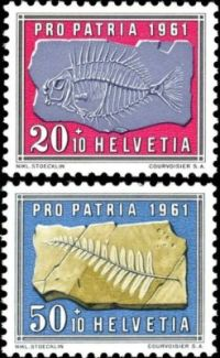 First fish and plant fossiel on stamps of Switzerland 1961