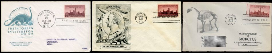 first FDC (First Day Cover) with dinosaurs on it
