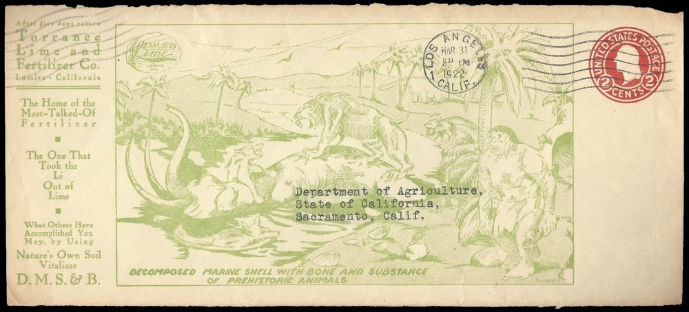 prehistoric animals on postal stationery  of Torrance Lime & Fertiliser Company