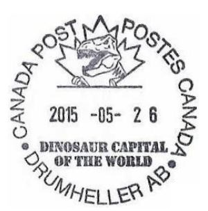 Dinosaur on postmark of Canada