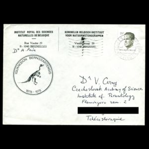 Dinosaur on meter franking of Belgium 1954