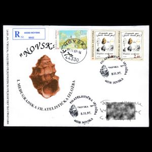 Shell fossil on commemorative cover of Croatia 1997