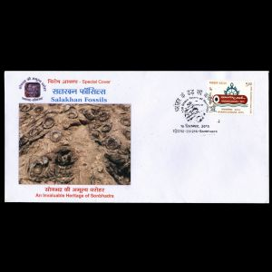 stromotolites fossils on special cover and post mark of India 2015