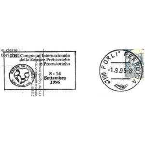 Flint tool on postmark of Italy 1995