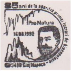 Emil Racovita on commemorative postmarks of Romania 1992