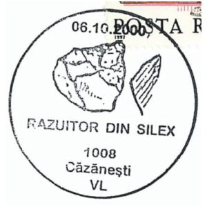 Flint tools on commemorative postmarks of Romania 2000