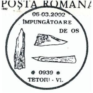 Flint tools on commemorative postmarks of Romania 2002