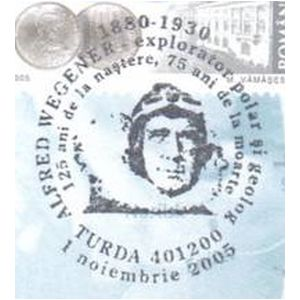 Alfred Wegener on commemorative postmarks of Romania 2005