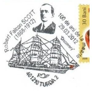 Captain Robert Falcon Scott on commemorative postmarks of Romania 2012