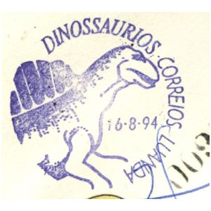 Dinosaur on commemorative postmark of Angola 1994