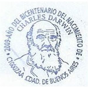 Charles Darwin on postmark of Argentina 2009