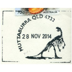 Muttaburrasaurus dinosaur on commemorative post mark of Australia 2014
